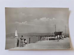 Régi képeslap 1958 Balatonlelle kikötő
