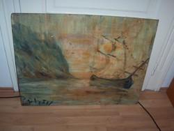 Tengerparti hajós kép fellelt állapotban