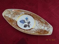 Hollóházi lüsztermázas, kék rózsás asztalközép, hossza 19 cm.