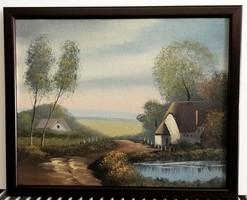 Romantikus tájkép ( K.mérete 22 x 27, olaj )