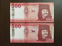 Sorszámkövető 500 forint bankjegy UNC 2 db 2018