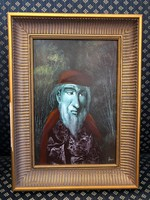 Herpai Zoltán férfiportré-olaj;farost,30x20 cm+keret