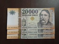 Sorszámkövető 20000 forint bankjegy UNC 3 db 2016
