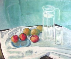 Still-life with Blue Plate and Fruits - Oil painting