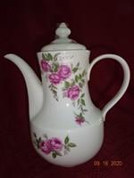 KAHLA német porcelán, rózsa mintás teáskanna, magassága 23 cm.