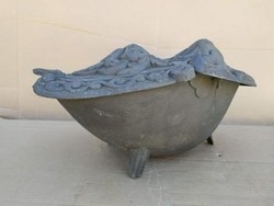 Antik vas kandalló, kályha mellé való fahasáb tartó, szén tartó