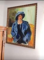 Heffner Tünde kékruhás nő festménye