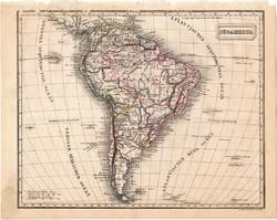 Dél - Amerika térkép 1854 (2), német nyelvű, eredeti, atlasz, osztrák, Brazília, Argentína, Chile