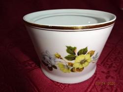 Hollóházi porcelán, sárga virágos cukortartó tető nélkül.