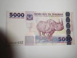 Tanzánia 5000 shillings 2003 UNC Ritka!