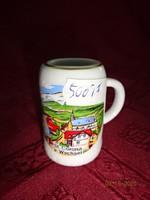 Német porcelán mini korsó. St. Corona a. Wechsel - emlék. Magassága 5,5 cm.