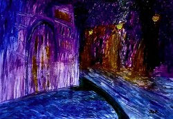 """Kata Szabo: """"Venetian night"""" oil painting 50 x 70 wood fibers, with silver-gray wooden frame, signed"""