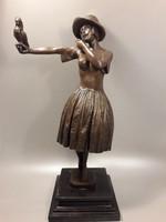 D.H.Chiparus - Lány madárral - Art Deco bronz szobor  szignózott