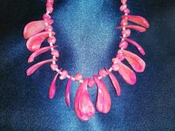 Pink kagyló nyaklánc gyöngyökkel 50 cm (2)