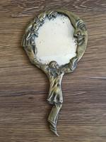 Ritka régi réz kézi tükör bohóc, Pierrot ábrázolással