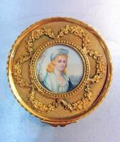 Antik miniatűrrel díszített ékszertartó doboz