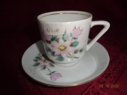 KAHLA minőségi német porcelán kávéscsésze + alátét rózsaszín rózsa mintával.
