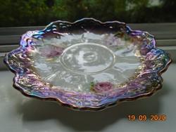 -50 % NYÁRI VÁSÁR ! Antik Birodalmi csipkézet, kézzel festett rózsás, lila türkiz eozinmázas tányér