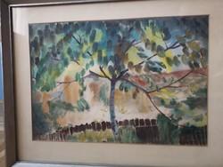Tájkép akvarell 34x42 jelezve