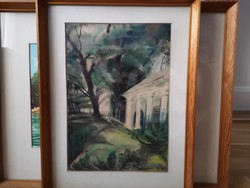 Kúria, akvarell 20x40 jelezve