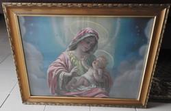 Régi Szűz Mária a Kisjézussal nyomat szép régi aranyozott keretében