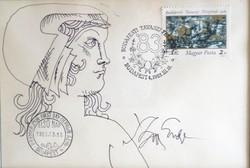 Szász Endre bélyeg, elsőnapi bélyegzővel + tusrajz, aláírás 1983