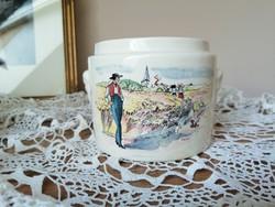 Sarreguemines porcelán tároló/ kaspó/ fűszeres