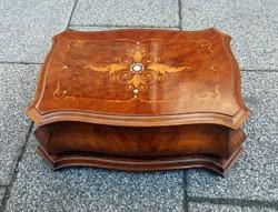 Antik, barokk stílusú, gyöngyházbetétes intarziás fa doboz