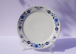 Ritka Alföldi porcelán tányér kék népi népművészeti mintás Központi Állami Kórház felirat a peremén
