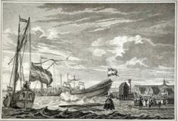 Simon Fokke: Der Stapellauf eines Schiffes (1889-ben készített nyomat)