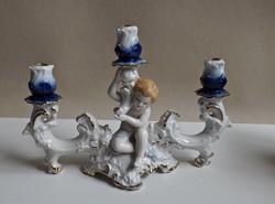 Puttós porcelán gyertyatartó 3 ágú