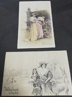Hölgyek-2 db régi képeslap