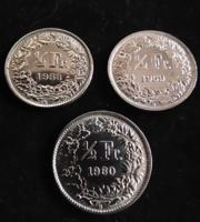 1/2 Svájci Frank 1958, 1959, 1960 EF
