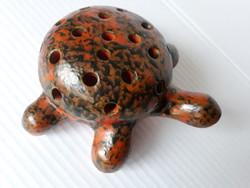Retro Tófej kerámia teknős, virágtüzdelő, ceruzatartó