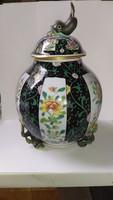 Siang Noir mintás herendi porcelán halfogós váza