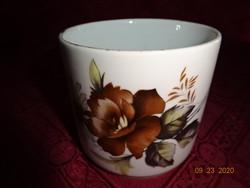 Alföldi porcelán,  barna virágos bögre.
