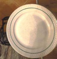 Zsolnay  porcelán    kerek tál  30cm szélén  zöld csíkkal