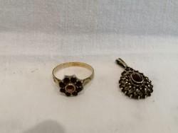 Gránát köves antik Bieder gyűrű és medál