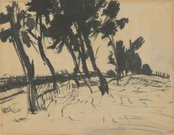 Bernáth Aurél (1895-1982): Tájkép fákkal.