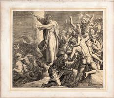 Bibliai kép (23), nyomat 1860, 22 x 26, A Szent Biblia díszes képekben, ige, IV. Mos. 14, 30. 31.