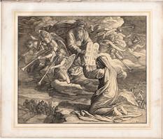 Bibliai kép (15), nyomat 1860, 21 x 25, A Szent Biblia díszes képekben, ige, II. Mos. 31, 18., Mózes