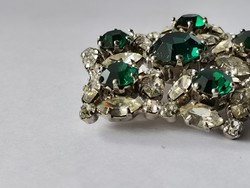 1950 körüli Vintage Smaragd színű Bross / Mid Century Rhinestone Brooch Schreiner NY Style