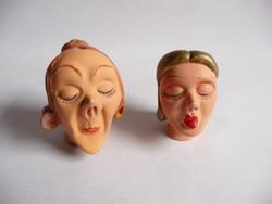 Régi groteszk kerámia baba fejek