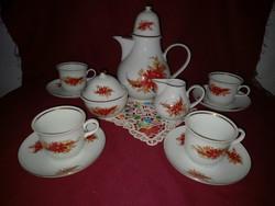 190/1 4 személyes régi Heineberg porcelán kávés készlet