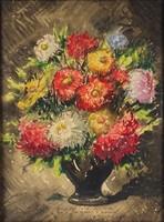 1B844 Magyar festő XX. század : Asztali virágcsendélet