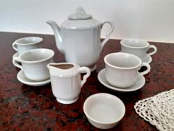 Régi játék porcelán teás készlet horgolt kis terítővel