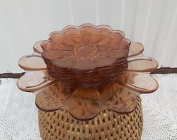 Gyönyörű üveg  süteményes készlet, sütis, Gyűjtői szépség