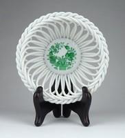 1B858 Zöld indiai kosaras Herendi porcelán fonott kosár