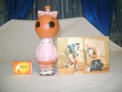 Régi Böbe baba gumi játék és képeslap