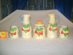 Domború mintás kerámia asztali fűszeres - ecet, olaj, só, bors, paprika vagy cukor tartó